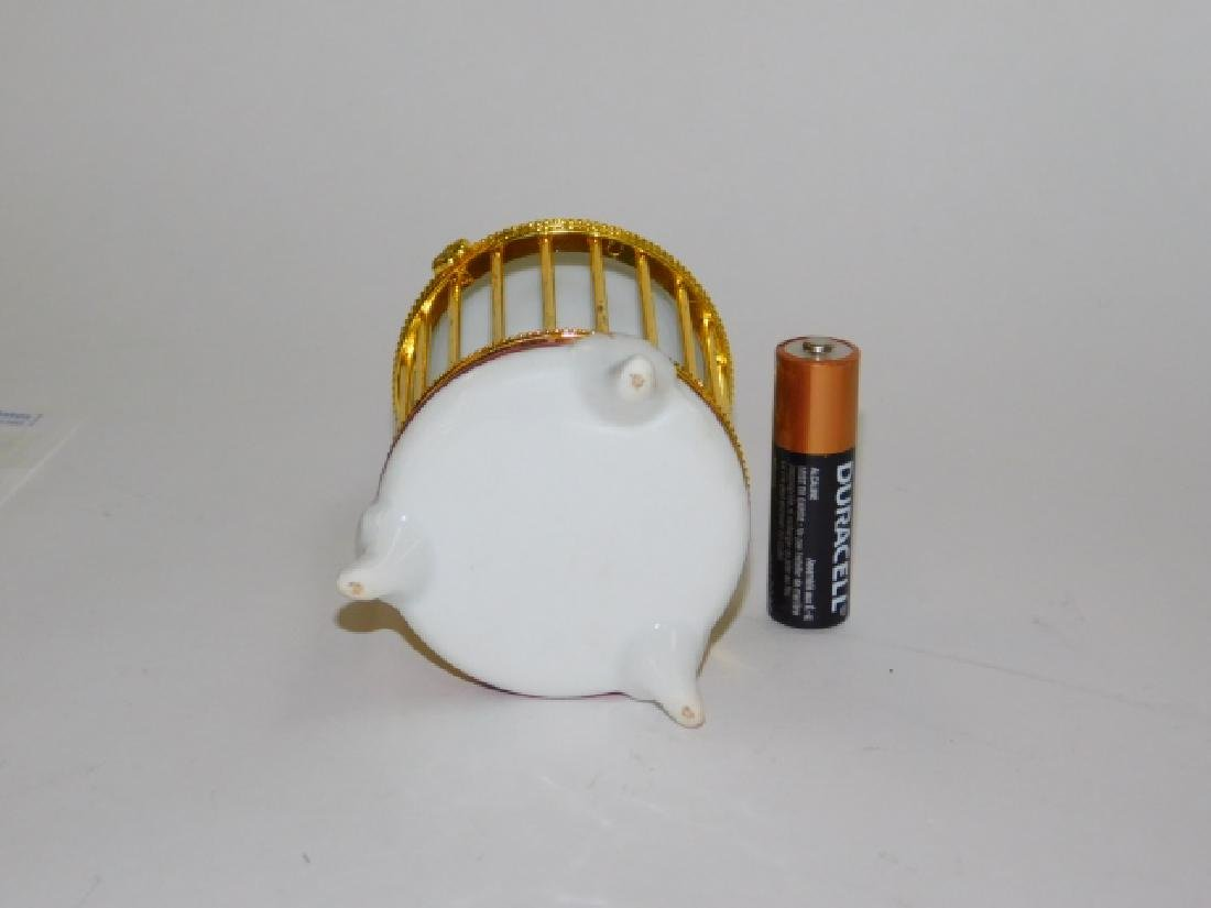 PORCELAIN AND BRASS FINISH BIRD CAGE BOX - 4
