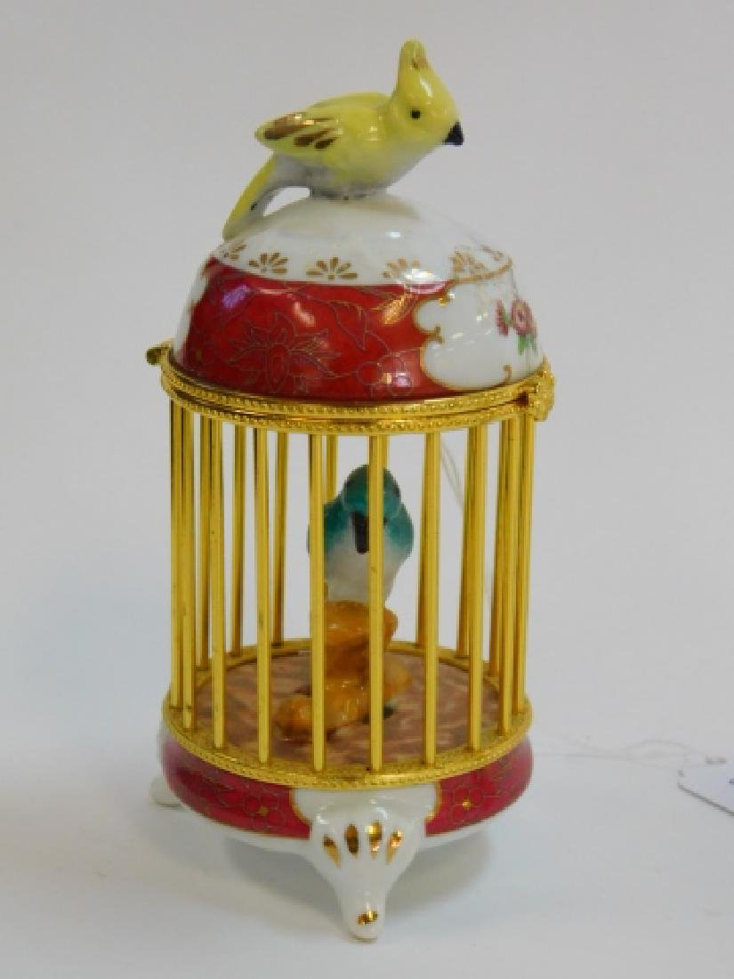 PORCELAIN AND BRASS FINISH BIRD CAGE BOX - 5