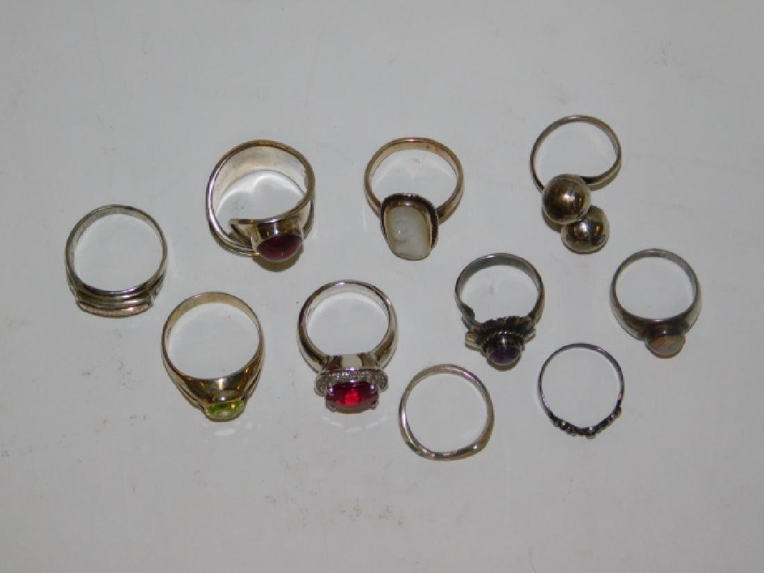 TEN STERLING SILVER RINGS - 2