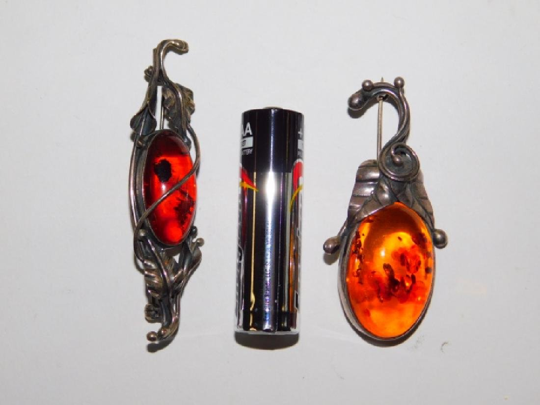 TWO STERLING SILVER WITH AMBER STONE PINS - 2