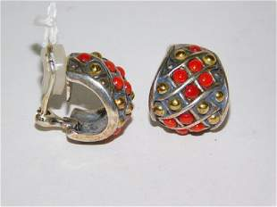 CAVIER CORAL CLIP ON EARRINGS