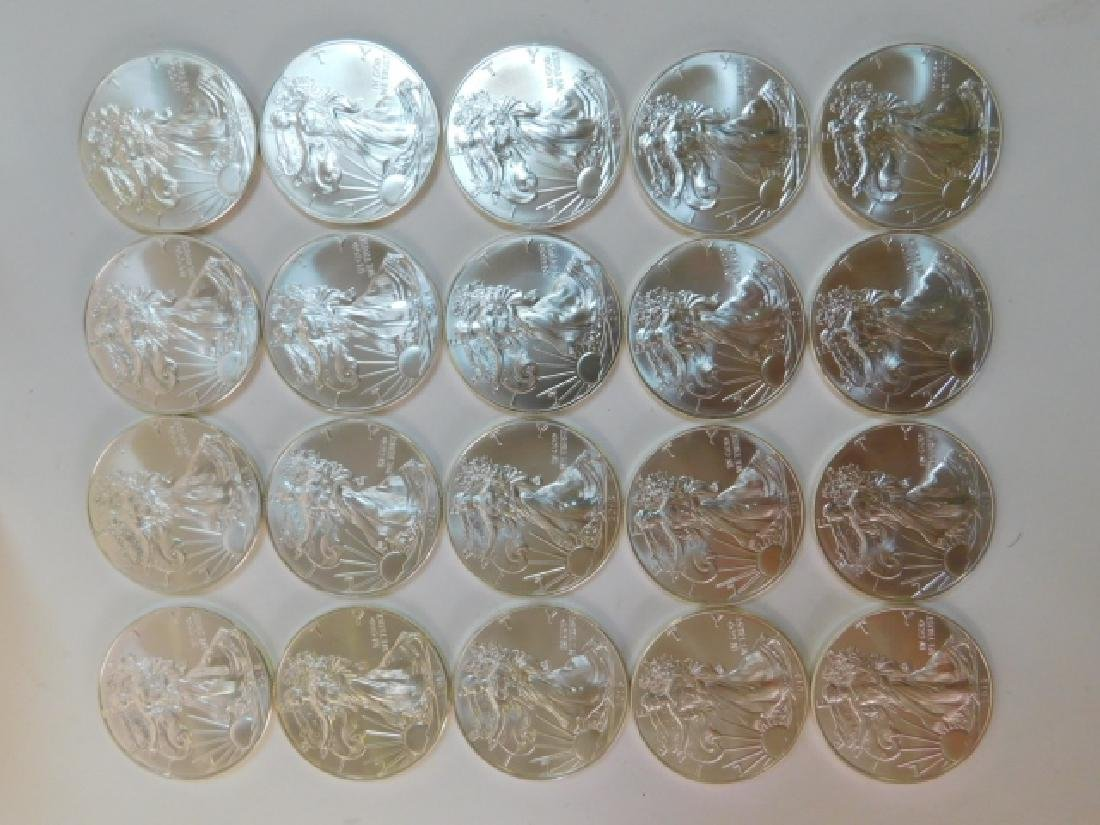 20 ONE OUNCE WALKING LIBERTY EAGLE SILVER COINS