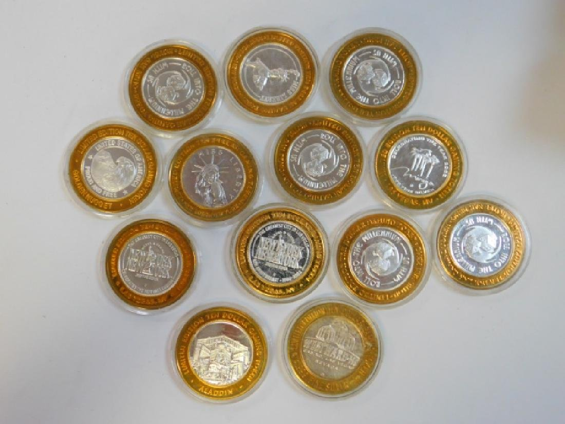 13 LAS VEGAS HOTEL 1/6TH OF AN OUNCE SILVER COINS