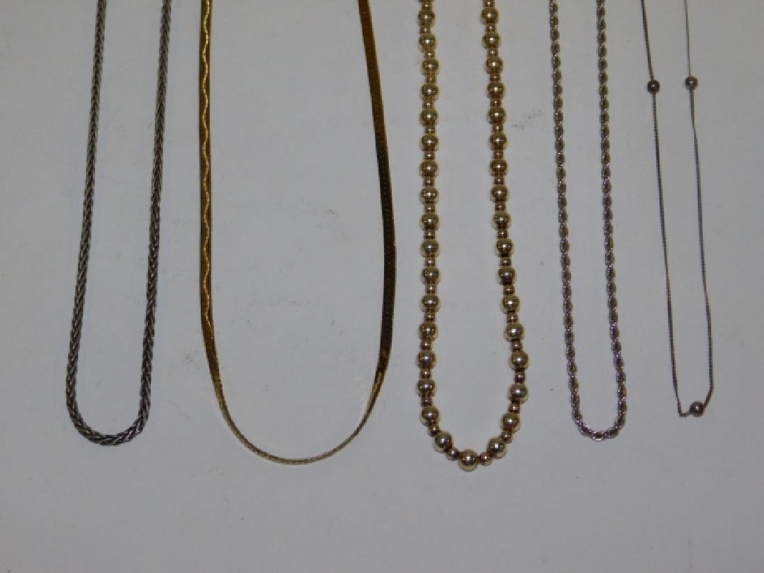 FIVE STERLING SILVER NECKLACES
