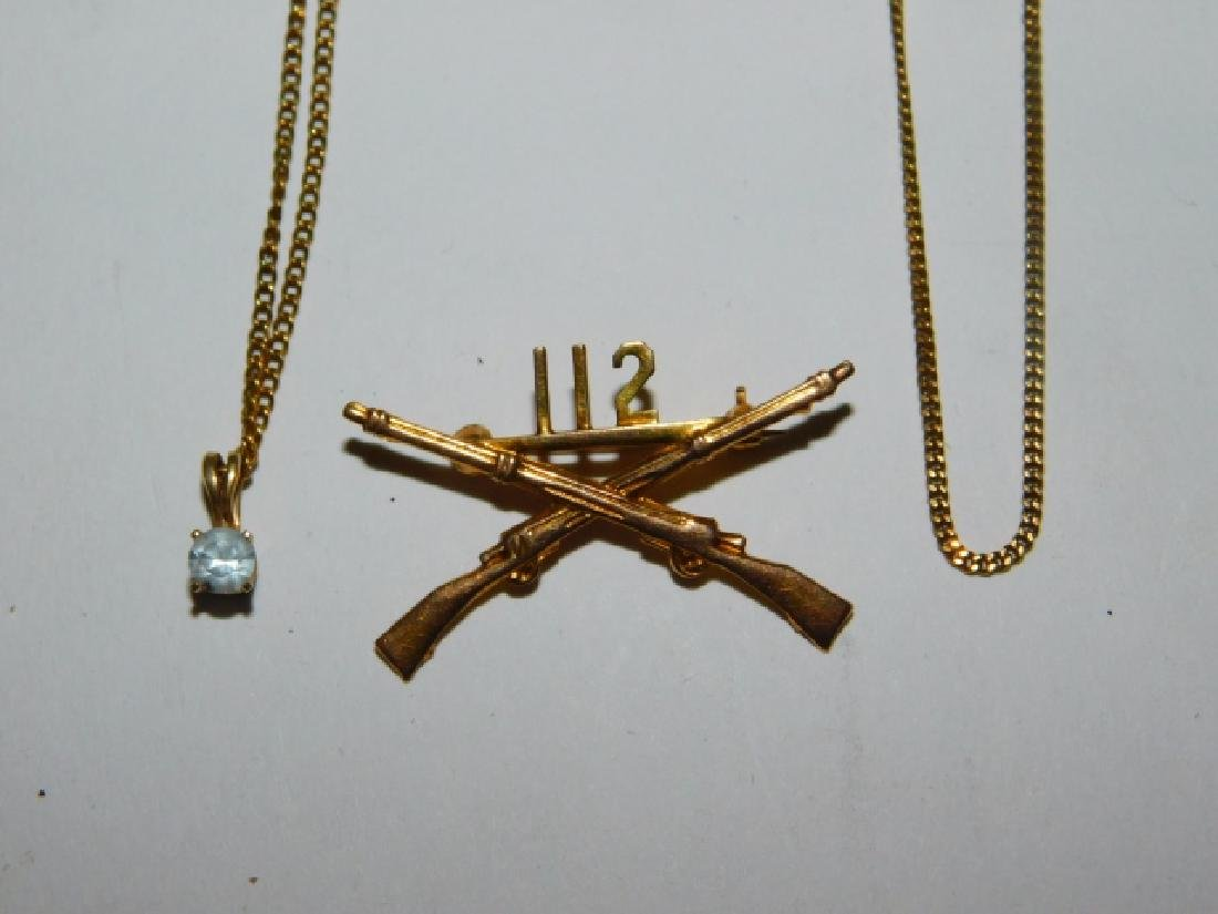 TWO 14K GOLD NECKLACES WITH 14K PIN
