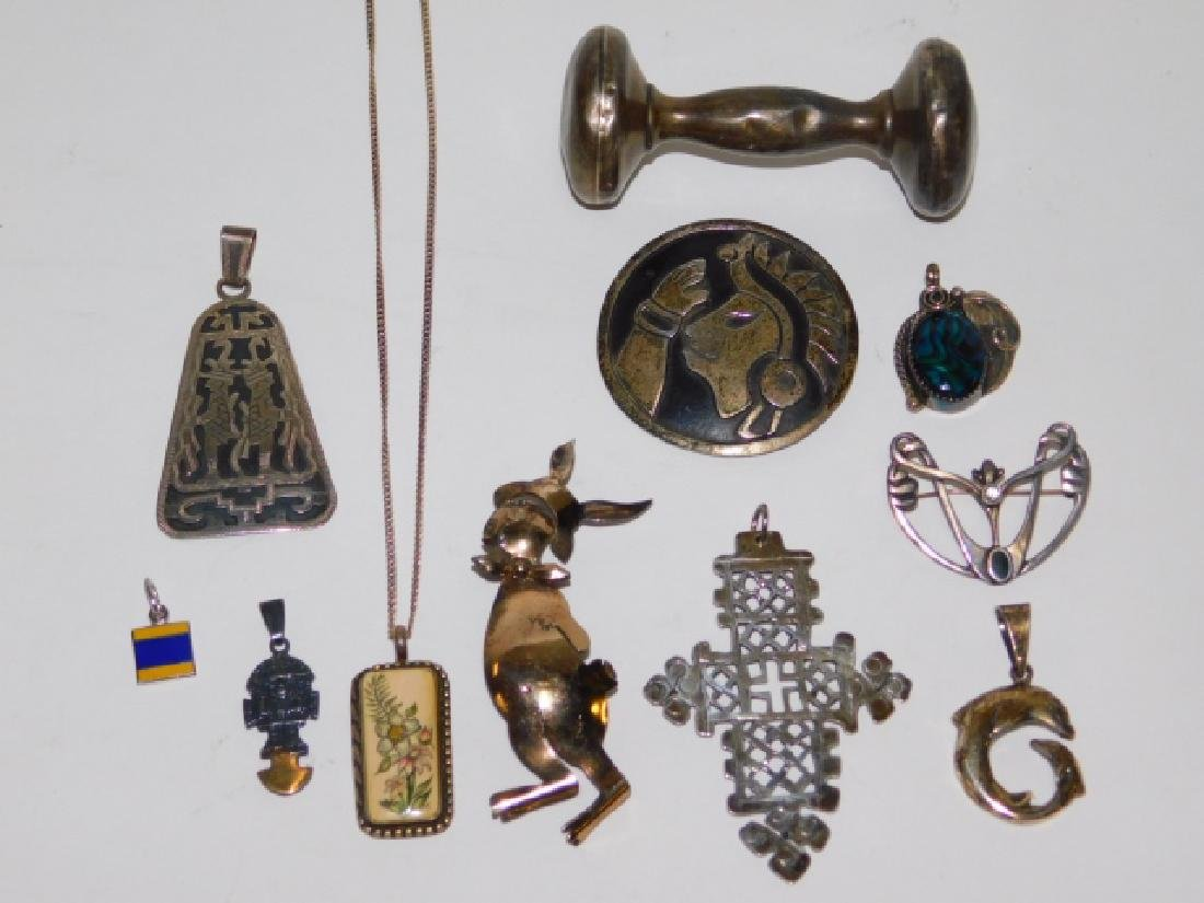 LOT OF STERLING SILVER JEWELRY W/ BABY RATTLE