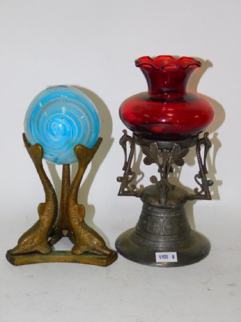 VICTORIAN CANDLE STAND FISH WITH BALL