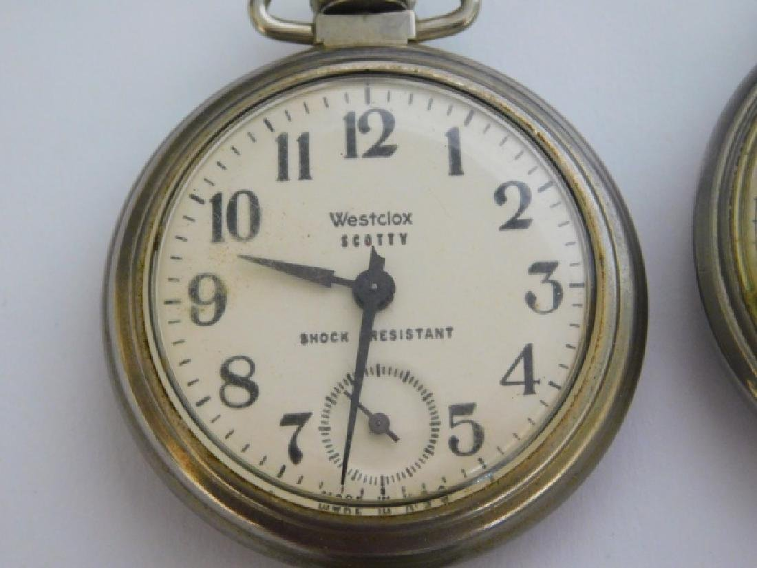 FOUR WESTCLOX POCKET WATCHES - 3