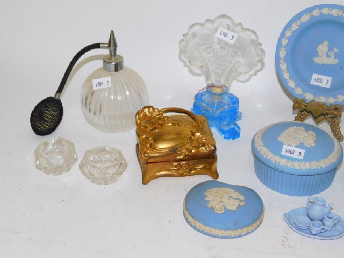 PERFUME BOTTLES, DRESSER BOXES, WEDGEWOOD - 6