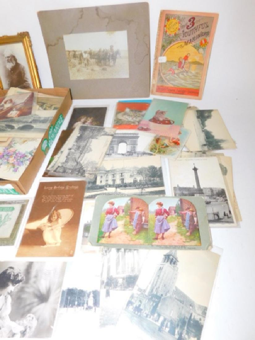 LARGE LOT OF BLACK & WHITE POSTCARDS AND PHOTOS - 4