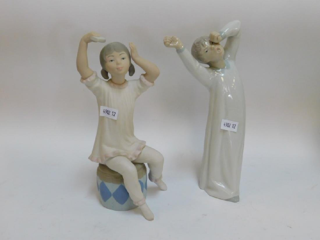 LLADRO, GIRL SHAMPOOING AND BOY YAWNING