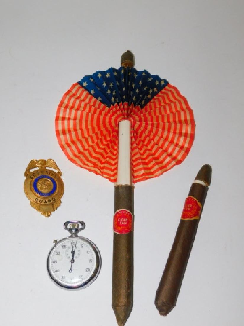 CIGAR FANS, POCKET WATCH, AND SECURITY BADGE