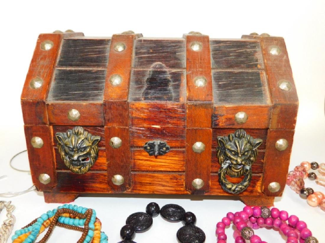 COSTUME JEWELRY IN WOODEN BOX - 5
