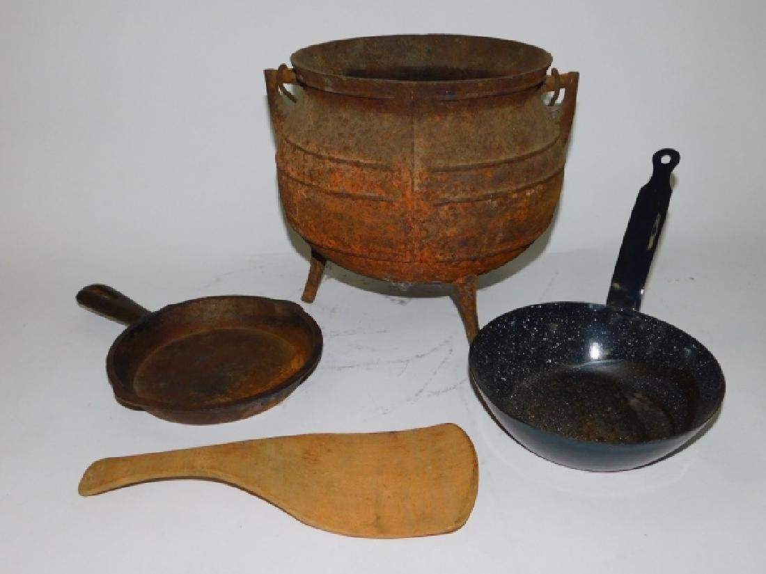 CAST IRON POT AND SKILLET WITH OTHERS