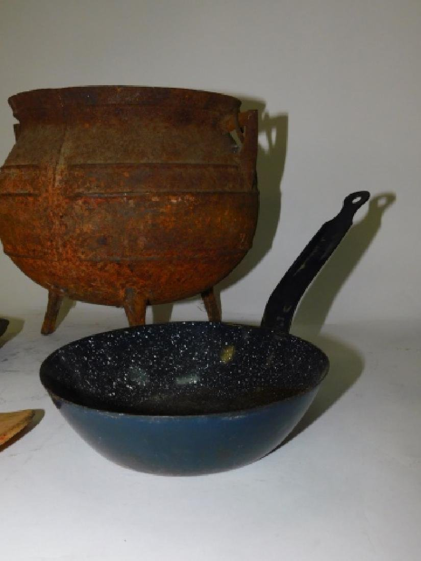 CAST IRON POT AND SKILLET WITH OTHERS - 2
