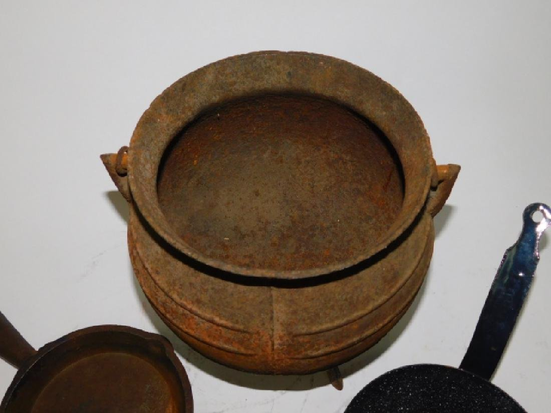 CAST IRON POT AND SKILLET WITH OTHERS - 4