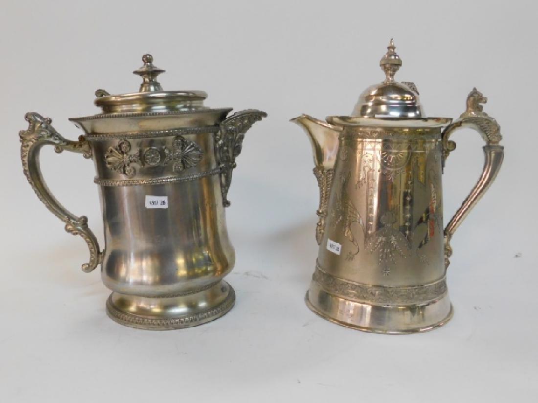 TWO SILVER PLATE TEA/COFFEE POTS