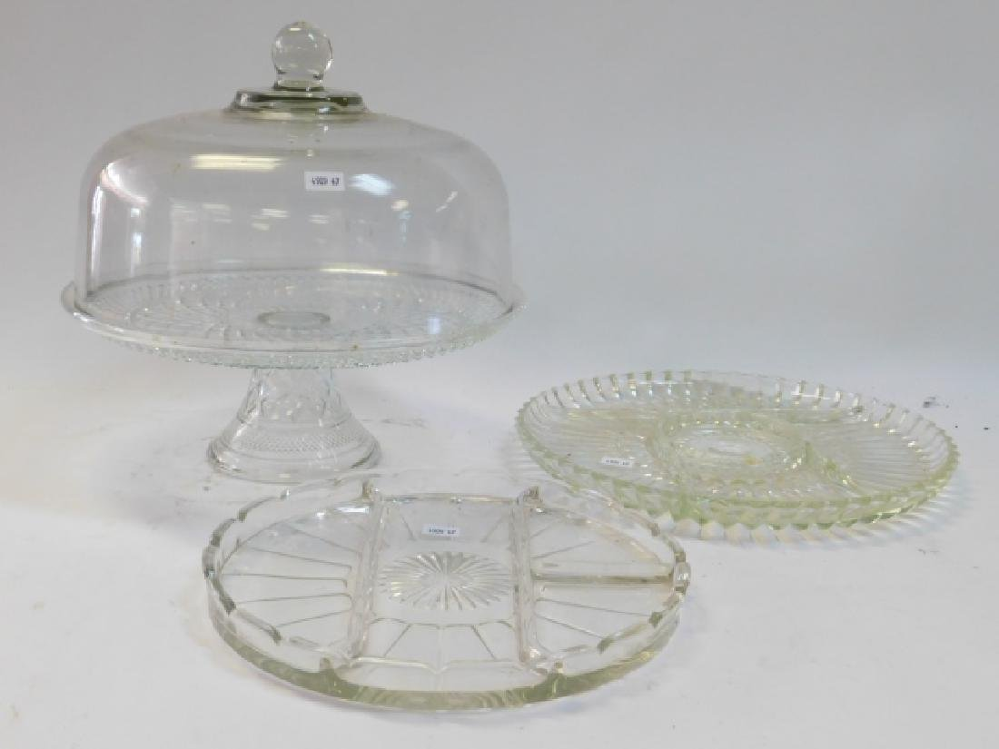 CUT GLASS CAKE PLATE WITH COVER AND DIVIDED DISHES