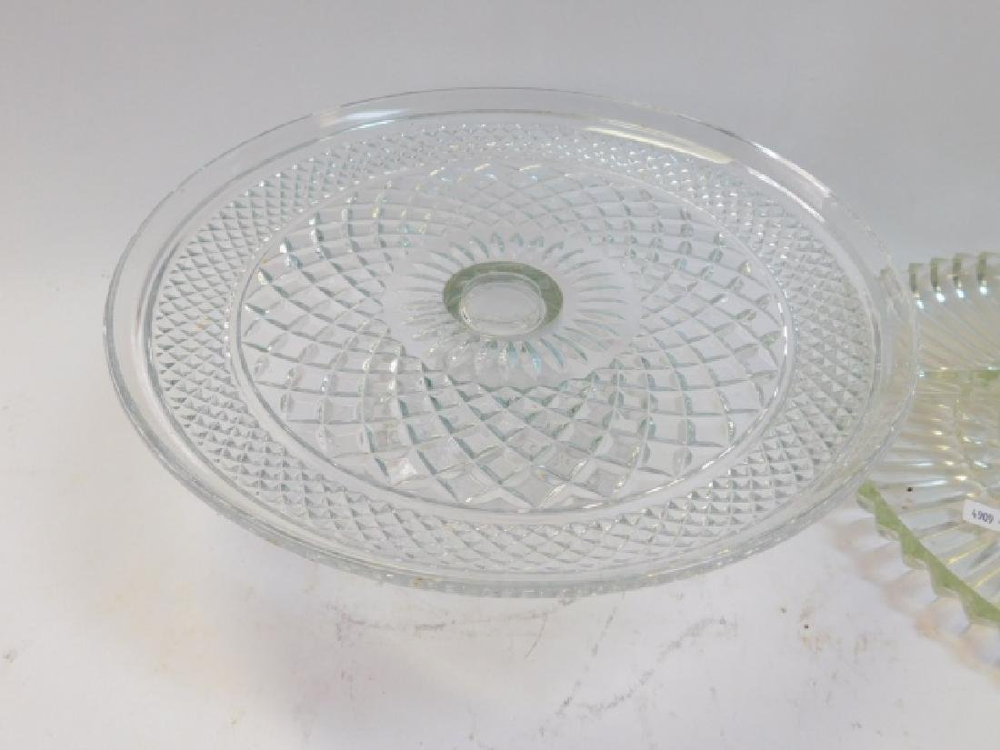 CUT GLASS CAKE PLATE WITH COVER AND DIVIDED DISHES - 5