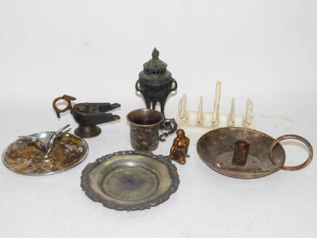 BRONZE INCENSE BURNERS, SILVER PLATE CUP AND MORE