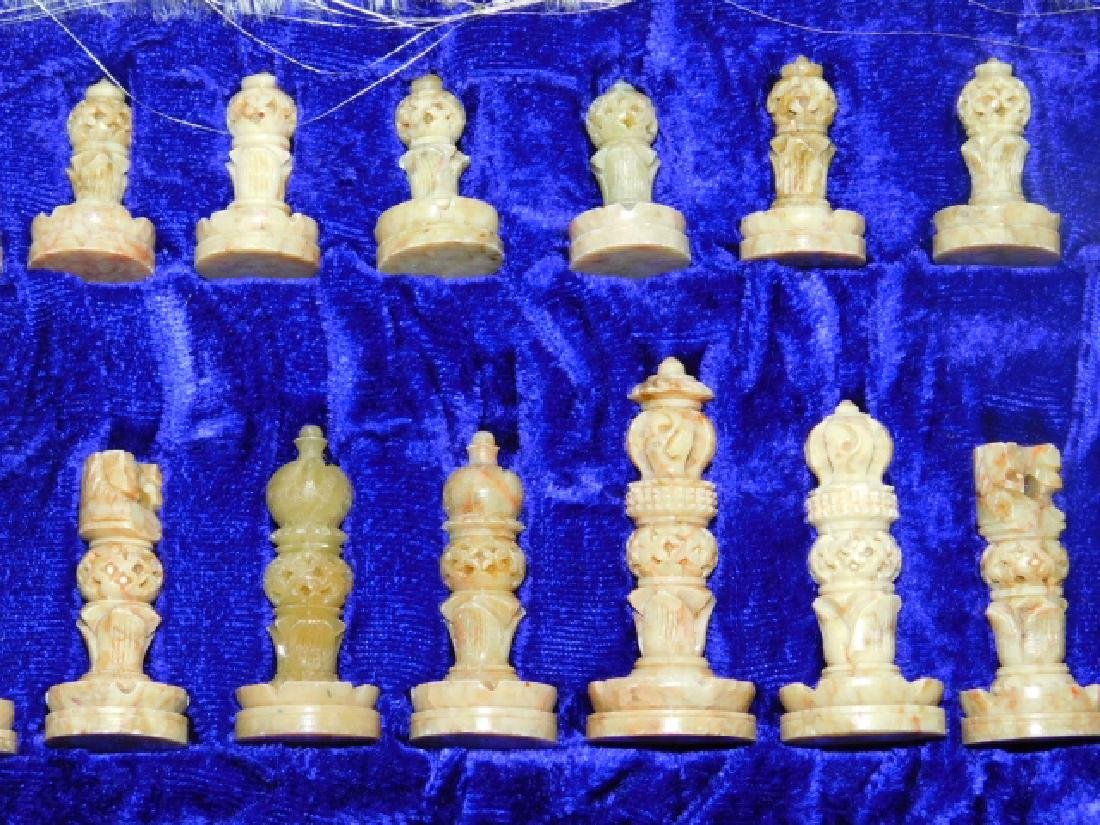 CARVED HARD STONE CHESS SET - 5