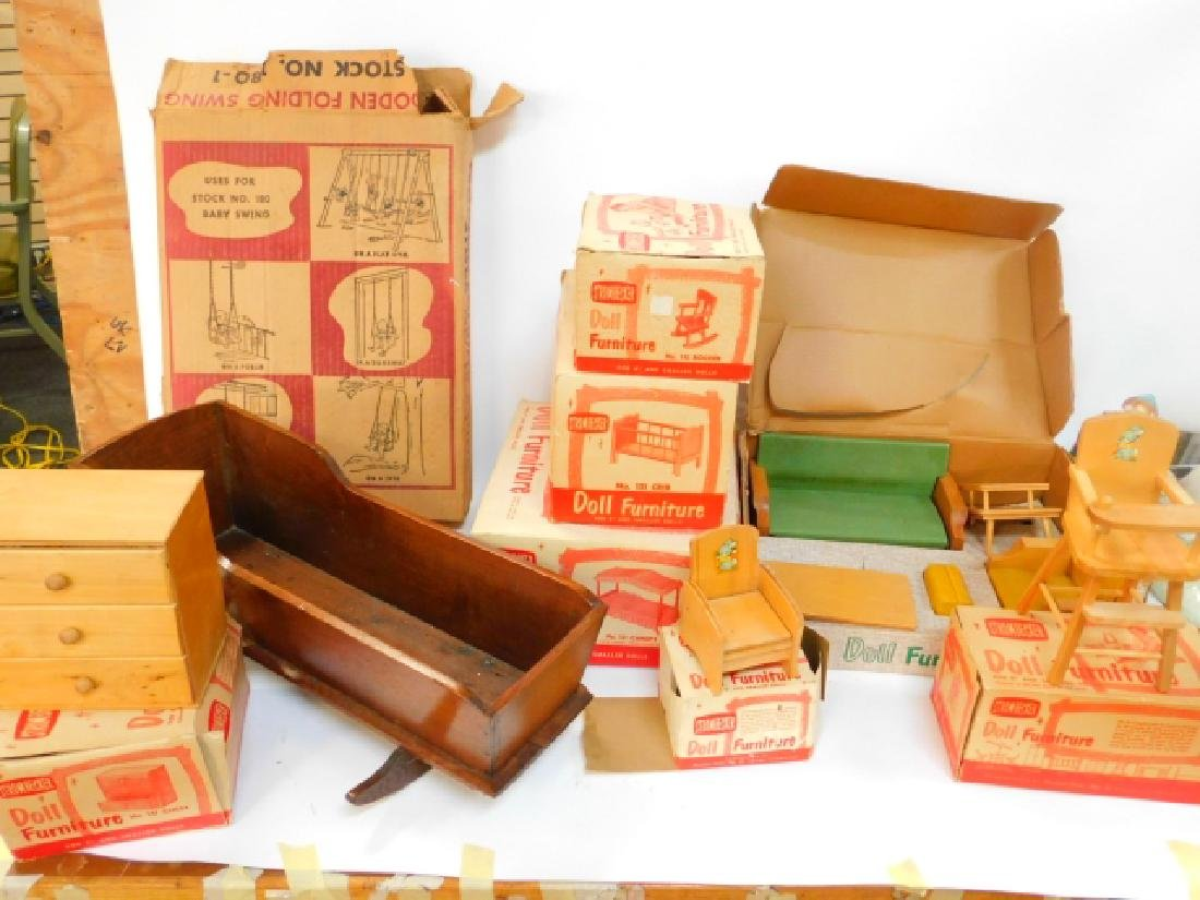 LARGE COLLECTION OF WOODEN DOLL HOUSE FURNITURE