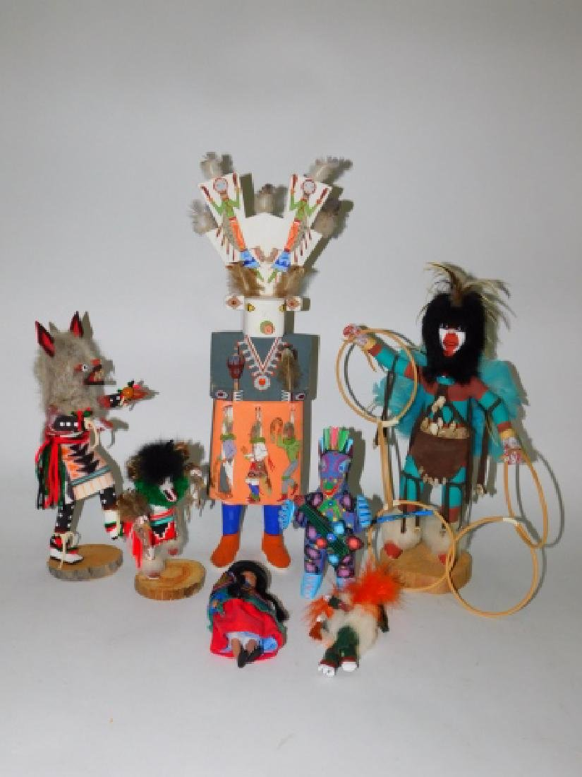 KACHINA DOLLS AND WOOD CARVED FIGURES