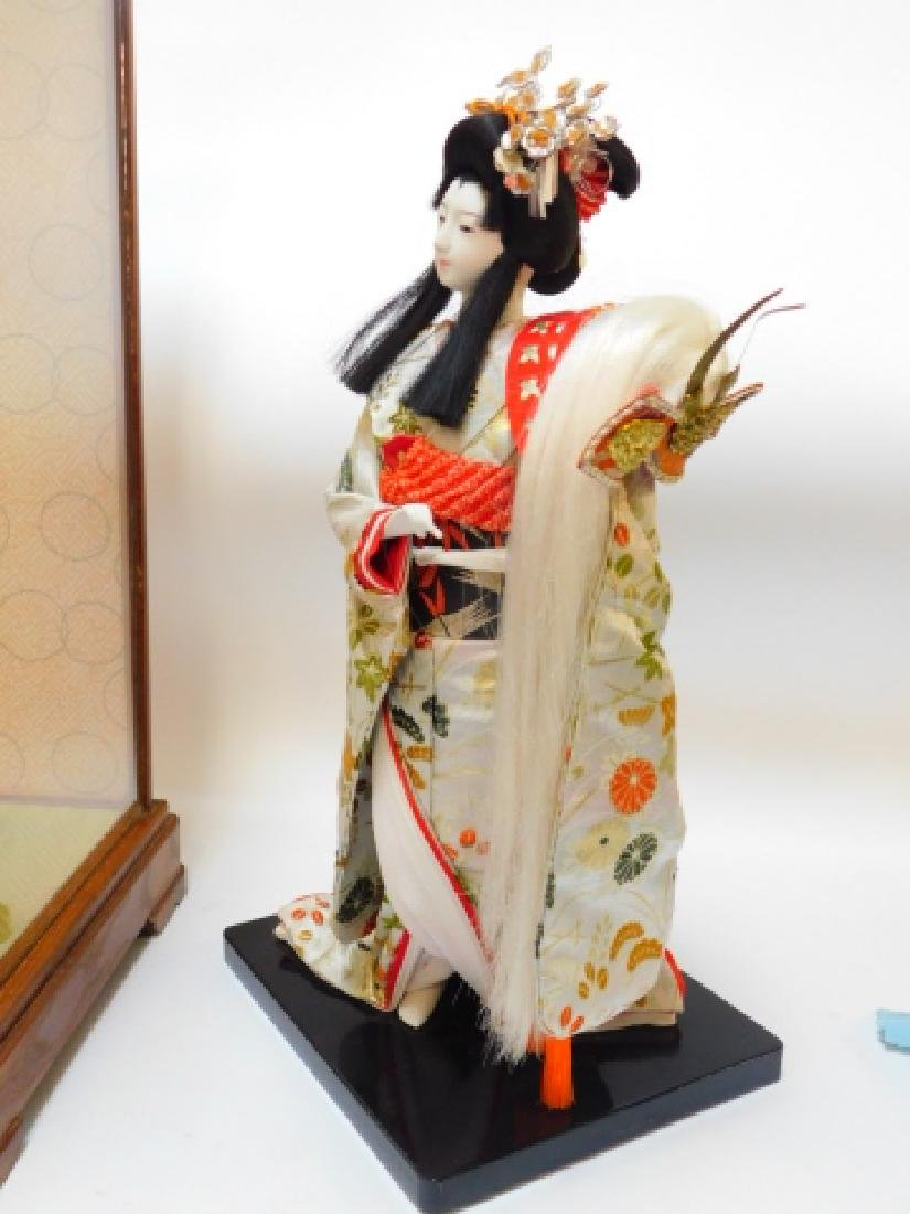 PORCELAIN ORIENTAL DOLL WITH GLASS CASE - 4