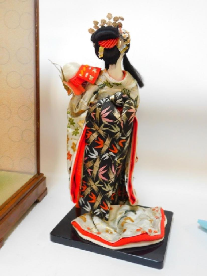 PORCELAIN ORIENTAL DOLL WITH GLASS CASE - 5
