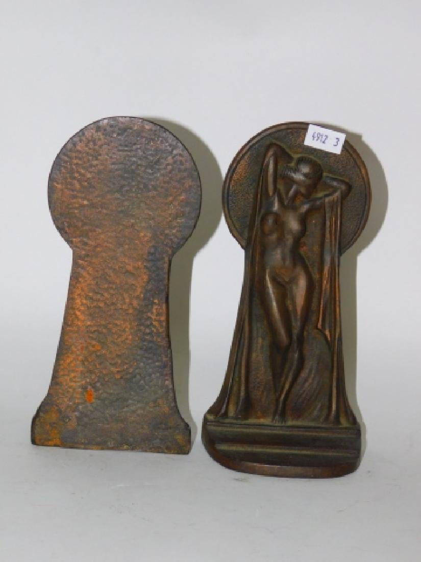 PAIR OF IRON DECO BOOKENDS