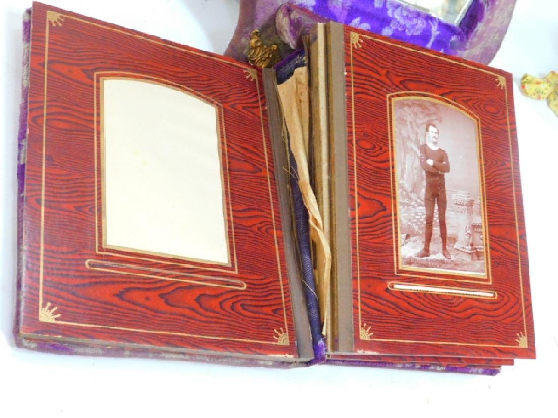 VICTORIAN PHOTO ALBUM ON STAND WITH PHOTOS - 3