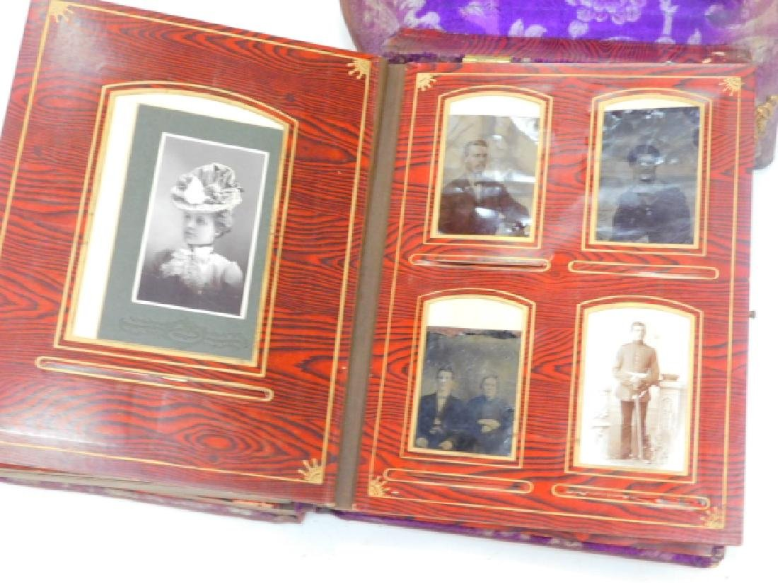 VICTORIAN PHOTO ALBUM ON STAND WITH PHOTOS - 9