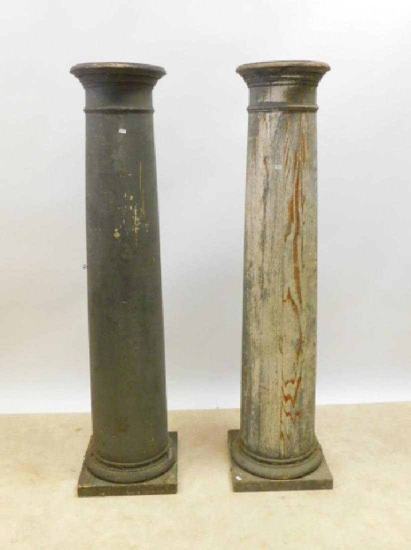 TWO WOODEN COLUMNS