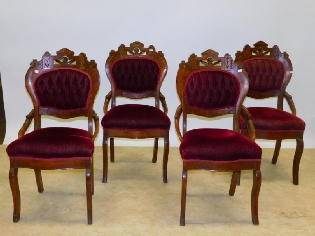 FOUR CARVED PARLOR CHAIRS