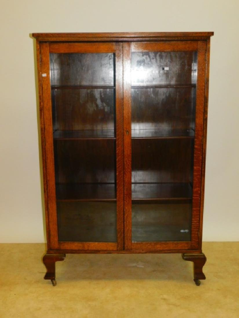 TWO DOOR OAK BOOKCASE