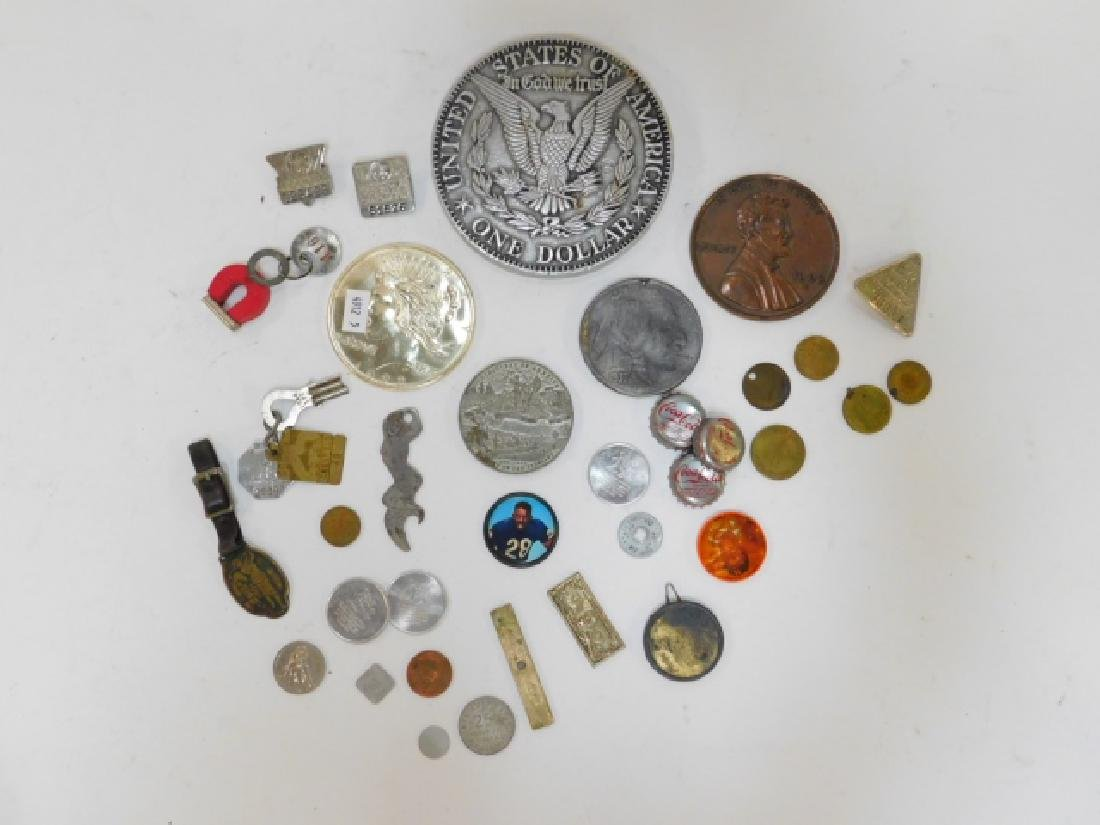 COLLECTION OF COINS, BUTTONS, BOTTLE CAPS