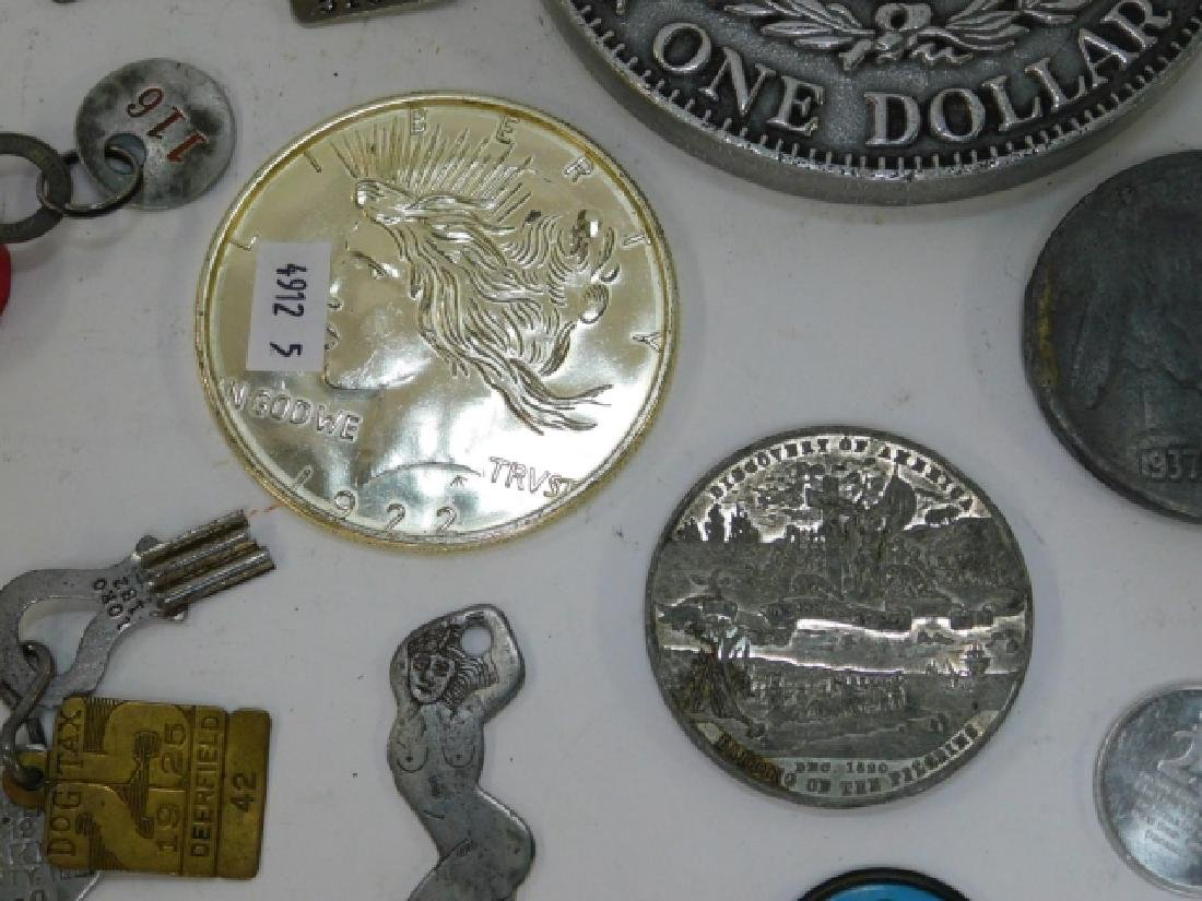 COLLECTION OF COINS, BUTTONS, BOTTLE CAPS - 4