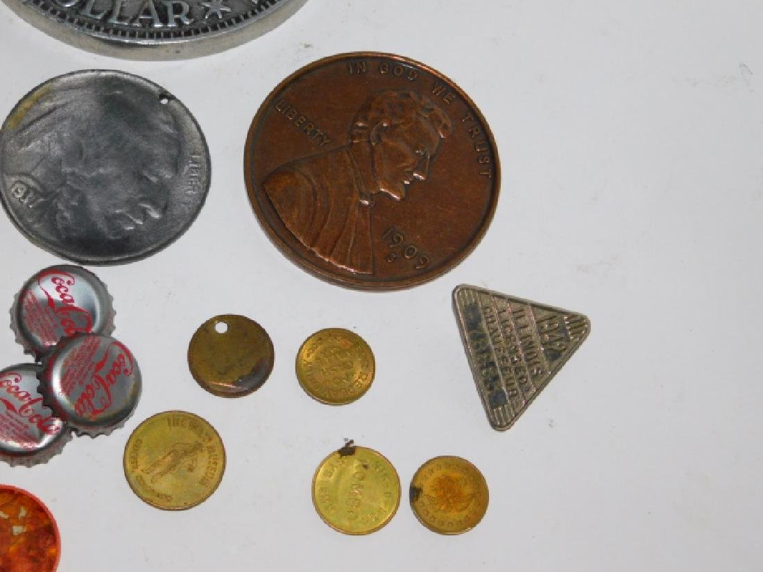 COLLECTION OF COINS, BUTTONS, BOTTLE CAPS - 6