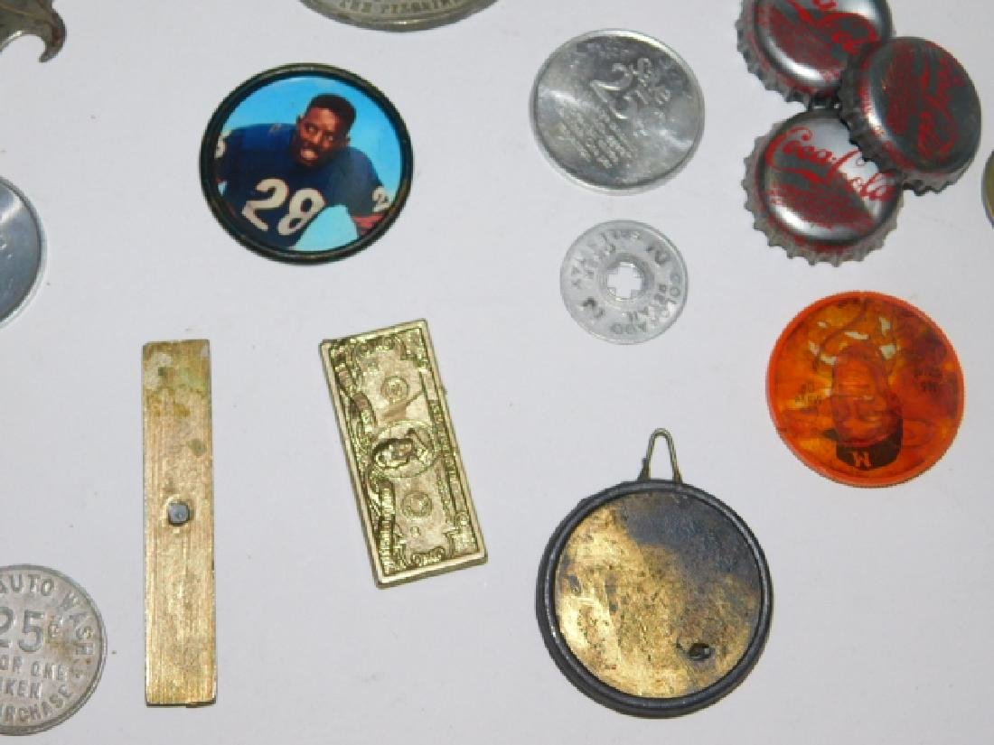 COLLECTION OF COINS, BUTTONS, BOTTLE CAPS - 8