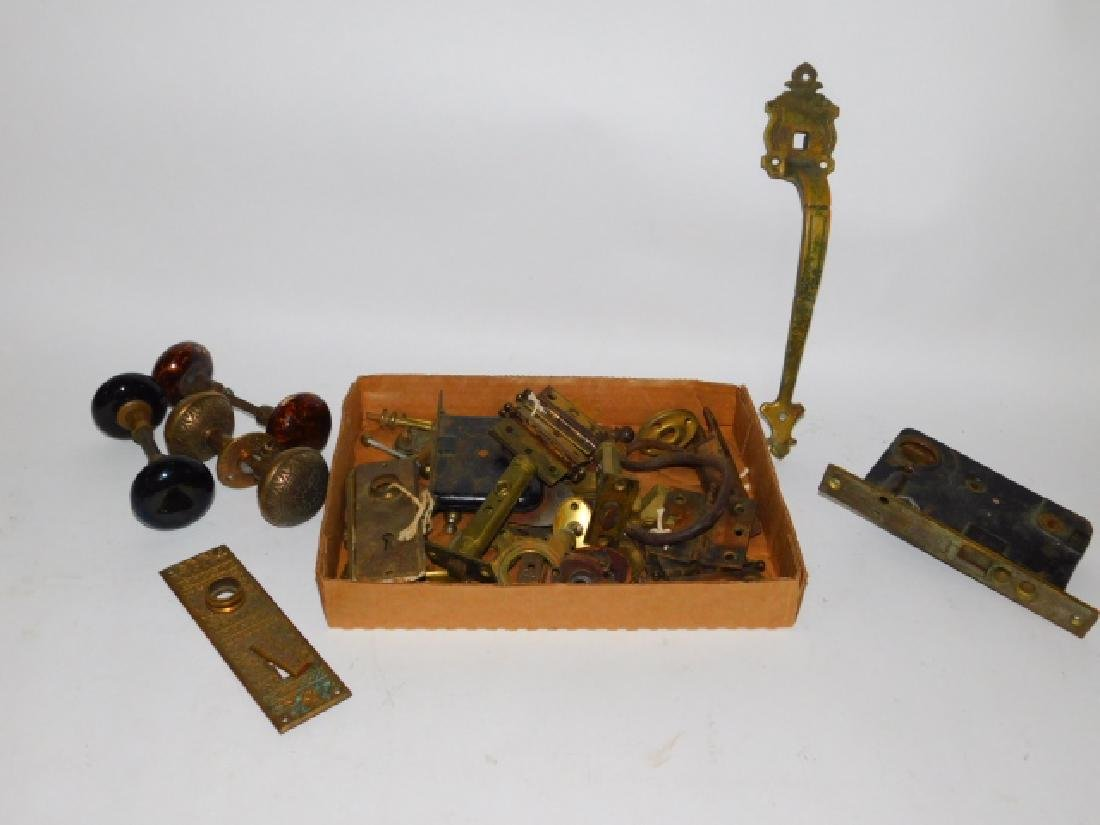 COLLECTION OF DOOR KNOBS, PULLS, HINGES, AND MORE