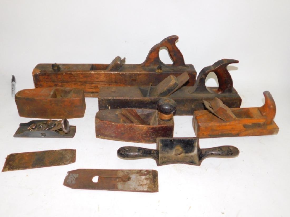 LOT OF WOOD PLANES AND HAND TOOLS