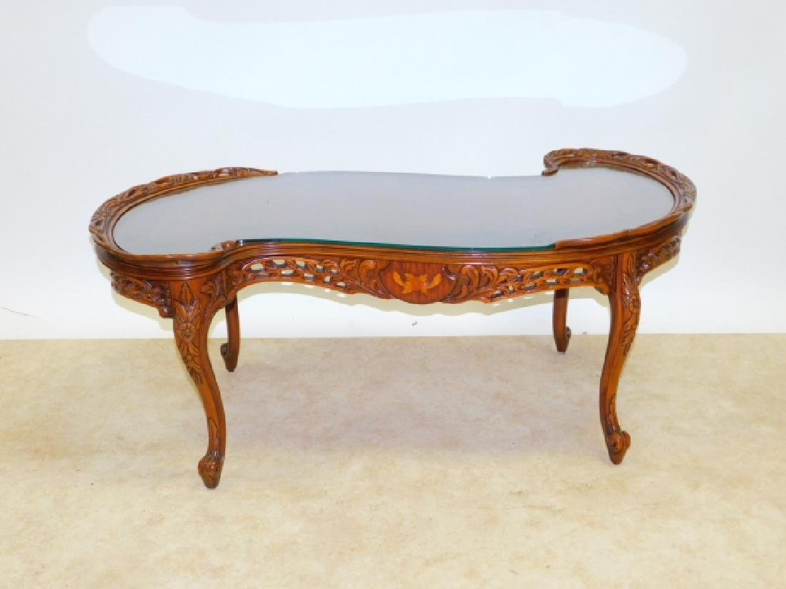 INLAID CARVED FRENCH COFFEE TABLE