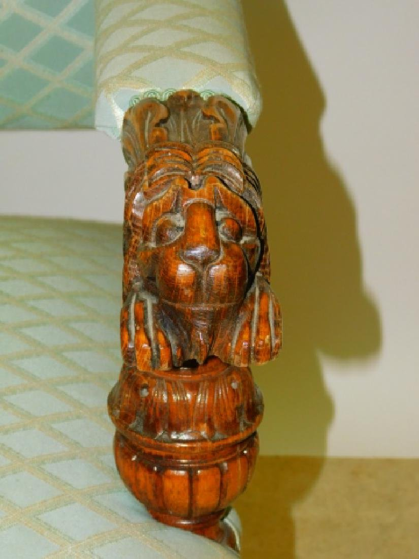 OAK LION HEAD CARVED LOVE SEAT - 2