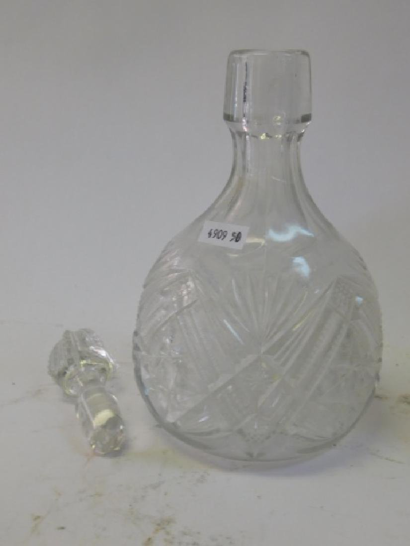 CUT GLASS DECANTERS WITH VASES - 3