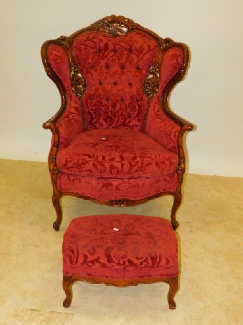 FRENCH CARVED WINGED BACK CHAIR WITH FOOT STOOL