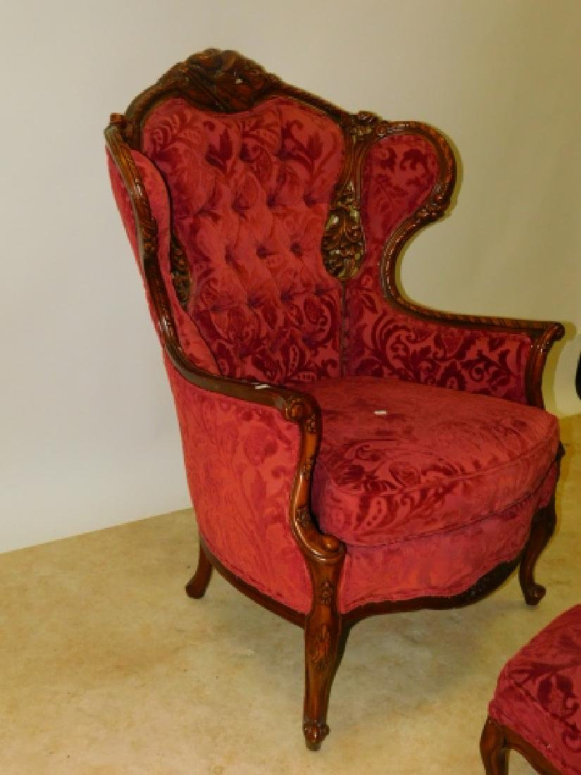 FRENCH CARVED WINGED BACK CHAIR WITH FOOT STOOL - 3