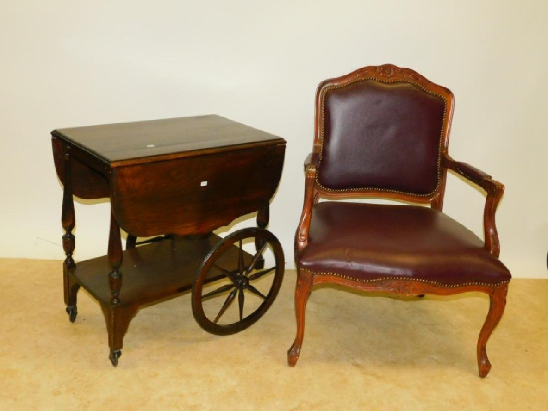 WOODEN TEA CART AND CHAIR