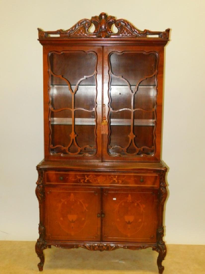 FRENCH CARVED INLAID CHINA CABINET
