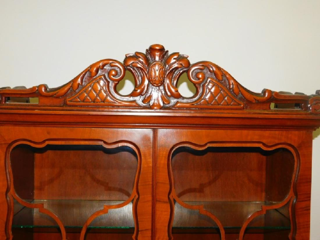 FRENCH CARVED INLAID CHINA CABINET - 2