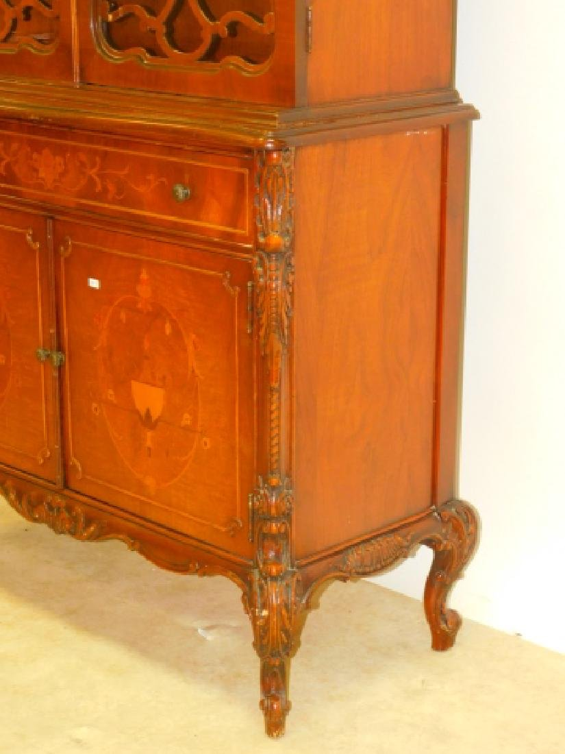 FRENCH CARVED INLAID CHINA CABINET - 4